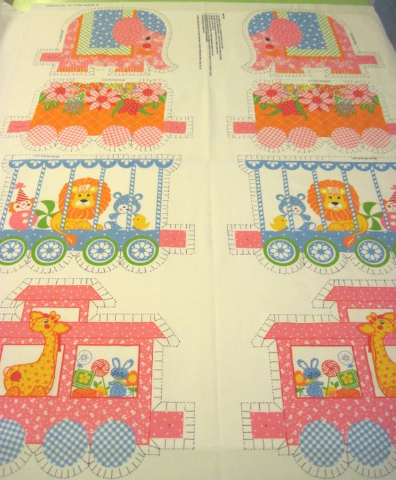 Vintage circus train juvenile print pillow fabric for Train print fabric