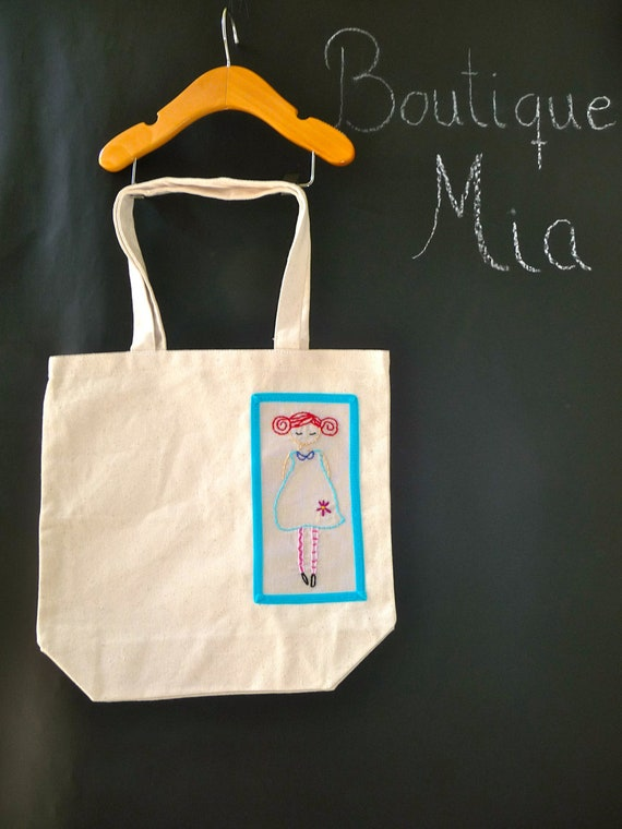 Hand Embroidered Tote Bag - Mod Girl - by Boutique Mia