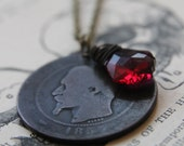 Oxblood Necklace with Antique French Coin and Swarovski Crystal