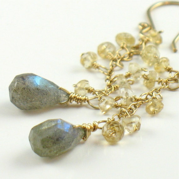 Long Citrine and Labradorite Dangle Earrings Gold