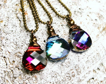 The Vamps Swarovski Crystal Brios on Antiqued Brass Necklaces Choose Color Necklace - Hot Fuchsia Pink, Heliotrope Purple, Aqua Blue Green