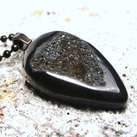 Lava Finish Metallic Black Sparkling Sugar Drusy Quartz ... Druzy Agate Teardrop Pendulum Gypsy Necklace
