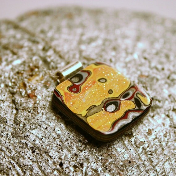 Detroit Fordite Necklace ... Recycled Vintage Auto Paint ... Red Orange Yellow Sunset Petite Square Sparkle Medallion on Sterling Silver