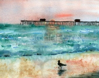ORIGINAL watercolor painting   beach scene pictures seagull at sunset