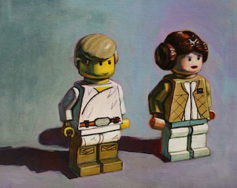 Star Wars Print of Original Painting - Luke and Leia toy figures