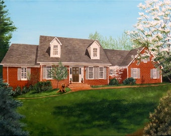 11x14 Original Hand Painted Commissioned Painting Of Your House Home