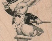 Easter March Hare Rabbit  tea party  rubber stamp     alice in wonderland  18116