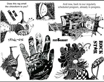 Art stamp plate  Rubber stamps  birds woman hand circus  Steampunk  rubber Stamp  tateam EUC team  1419