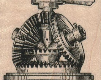 Rubber stamp  Steampunk  supplies gears  wood Mounted   18639
