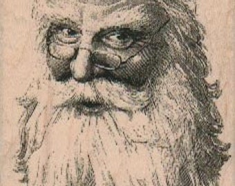 Christmas rubber stamp Santa Clause face  cling stamp, unmounted or wood mounted stamp 18931
