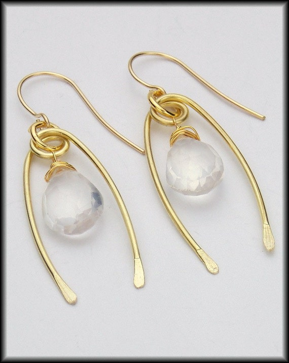 MOONSTONE - Moonstone Briolettes - Handforged Bronze & 14kt Goldfill Earrings