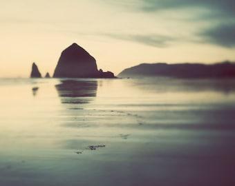 Beach Art, Cannon Beach Photography, Ocean Decor, Moody Landscape Photography, Oregon Large Art Print, Teal Green Wall Art,