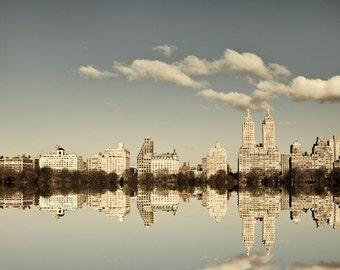 NYC Skyline, New York Photography, Manhattan Reflection, Central Park, Upper West Side, Grey Blue - Manhattan Mirror