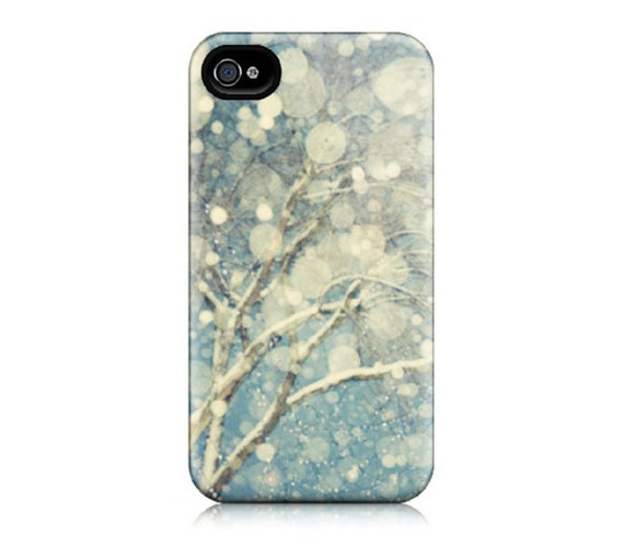 iPhone 4 Case, iPhone 4S Case - Winter Photography, Snow, Blizzard, Abstract, Pale Blue, White - Snowblind