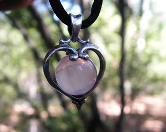 Sterling Silver Heart Pendant With Rose Quartz