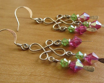 Flora - green and pink Swarovski crystal earrings