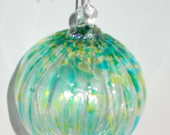 Hand Blown Art Glass Christmas Ball Suncatcher Ornament by Rebecca Zhukov