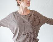 women's bicycle shirt - long sleeve raglan pullover - brown bike on coffee tri blend tshirt - small