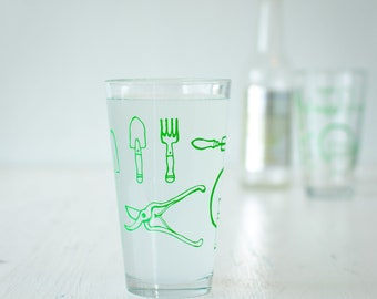 Garden Tools pint glasses, green ink, gardener gift