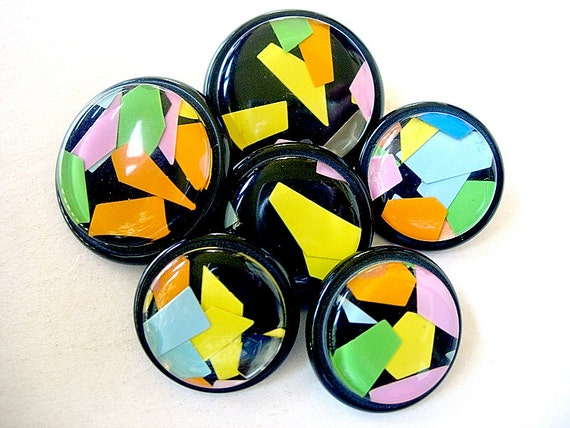 Neat Lot of Vintage Encased Plastic Buttons with Paper Confetti Accents