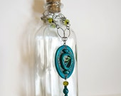 Green Page Moth Necklace- Real wing and glass pendant with beaded charm