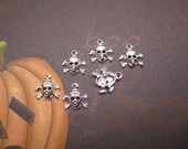 Tiny Skulls Halloween Charms Silver Plated Brass on Etsy x 6