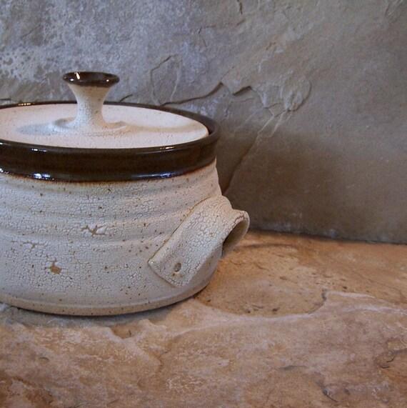 White and Brown Handmade Stoneware Ceramic Pottery Lidded Casserole Baking Dish