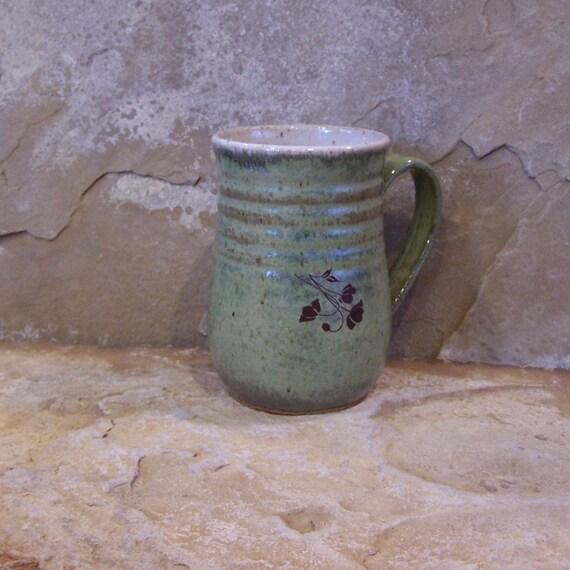 RESERVED - Desert Moss Green Handmade Stoneware Ceramic Pottery Large Mug Cup - Poppy