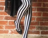 Black and White Vertical Striped Thigh Highs