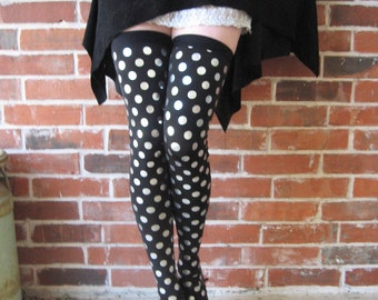 Silver polka dot tights