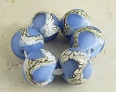 Blue Handmade Lampwork Glass Beads Set of 6 Etched Frosted Finish Organic Webbed Silvered Ivory 14x11mm Glacier Velvet