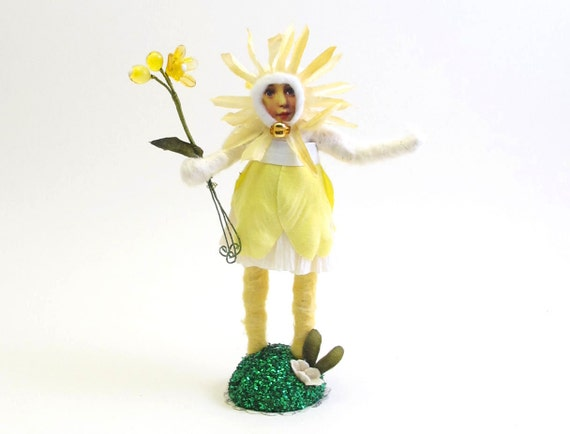 Vintage Inspired Spun Cotton Yellow Gerber Daisy Flower Girl Figure OOAK