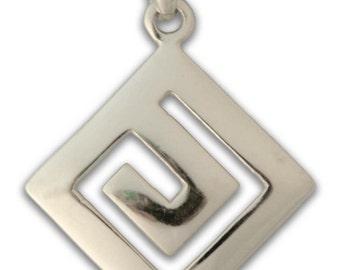 Meander-Greek Key - Sterling Silver Pendant