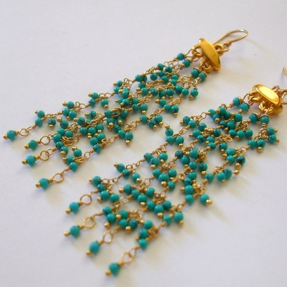 Beaded Chain Dangle Earring Turquoise Gold Long Cluster