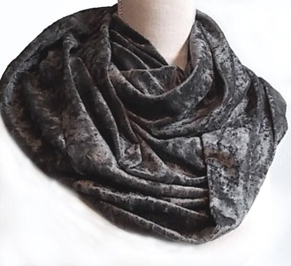 Soft Crushed Steel Grey Velvet Velor Long Infinity UNISEX Eternity Scarf Cowl Mens Womens