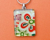 SALE Glass Tile Necklace - Asian Floral Washi Paper- Stocking Stuffers - Bridesmaid Gifts