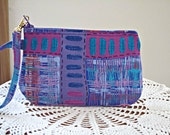 Clutch Wristlet Zipper Gadget Pouch Purse  Woven Film  Purple
