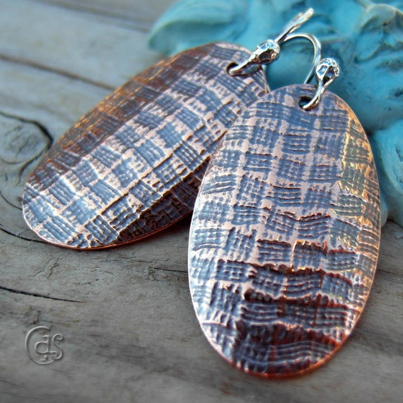 Copper Shield Earrings Embossed Handmade Metal Charms