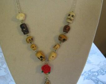 Skulls Rose Rosary Necklace