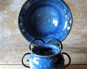Small Caldron and Ritual Bowl in Blues, Stars, Spirals, Altar Tools, Wicca Wiccan, New Age, Midnight Sky Blue, Magic Majick, Ready to Ship