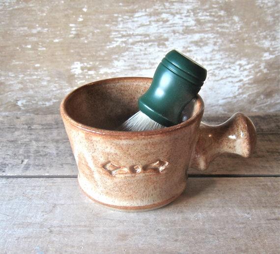 Shaving Mug, Apothecary Style, Nutmeg Warm Burnt Orange, Handmade Stoneware Pottery, Ready to Ship