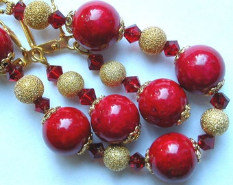 Red Bracelet Earring Set with Gold and Swarovski Crystal