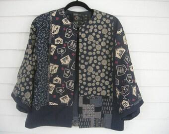 Kimono-Style Indigo Blue Jacket, Fully Lined