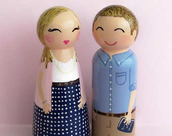 Hand Painted Love Boxes Custom Wedding Engagement Bride and Groom Cake Topper Doll Wood