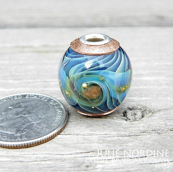 Julie Nordine . Large Hole European Style Handmade Art Glass Bead 46 . Sterling Lined . Copper . Lampwork . FREE SHIPPING . SRA
