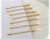 Gold Wedding Hair Accessories, Blonde Wedding Hair, Set of Seven Ivory Cream Pearl and Crystal Bobby Pins