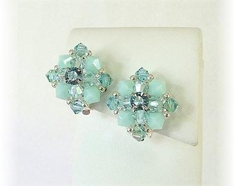 Vintage Styled Bridal Party Clip On Earrings, Aqua Mint Mix Crystal Bridal Clip On Earrings, Swarovski Crystal Non-Pierced Earrings