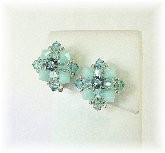 Vintage Styled Bridal Party Clip On Earrings, Aqua Mint Mix Crystal Bridal Clip On Earrings, Swarovski Crystal Non-Pierced Earrings