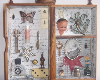 Original Assemblage Art Recycle 3D Salvage Collage Art -  41 - 1043