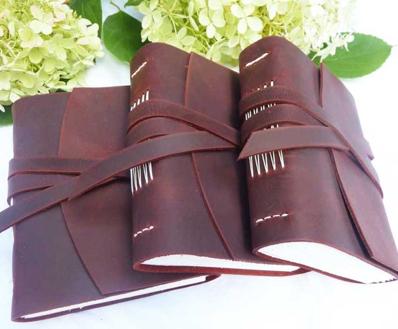 3 Leather Journals - Bridesmaids Gifts - made to order